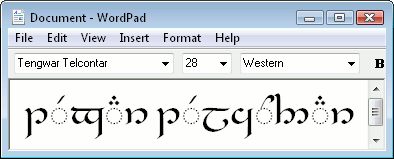 Tengwar Telcontar as rendered in Microsoft WordPad.